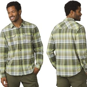 Prana Citadel Green Plaid Button Down Shirt XL